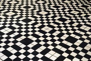 Black and white retro style tile floor