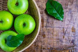 Close-up of green apples photo