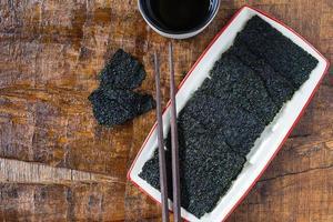 Plate of dry seaweed