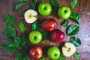 Top view of apples and leaves