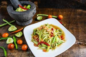 Papaya salad on a plate