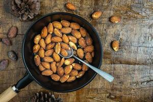 Top view of a pan with almonds and a spoon on it photo