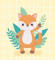 little cute fox foliage nature cartoon animals vector
