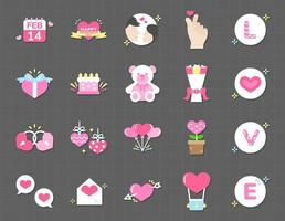 Happy Valentines Day icon set vector