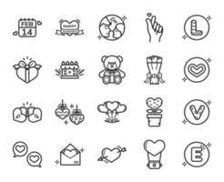 feliz dia de san valentin conjunto de iconos