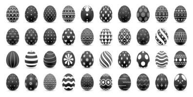 conjunto de huevos de pascua con patrones abstractos