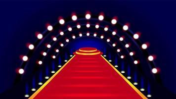 alfombra roja que conduce a la ilustración del escenario vector