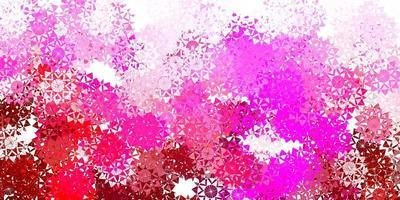 textura de vector rosa claro con copos de nieve brillantes.