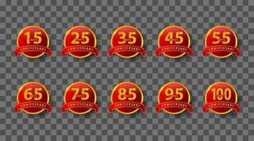 insignia de aniversario rojo y dorado