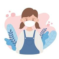young girl with medical mask, prevention coronavirus spread, covid 19 vector