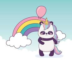 panda with unicorn and balloon rainbow decoration cartoon