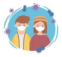 niño y niña con máscara protectora, prevención de la propagación del coronavirus covid 19 vector