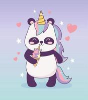 panda with unicorn ice cream cartoon character magical fantasy vector