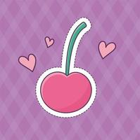 cherry hearts love patch fashion badge sticker decoration icon vector