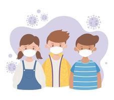 niños y niñas con máscara protectora médica, prevención brote de coronavirus enfermedad covid 19 vector
