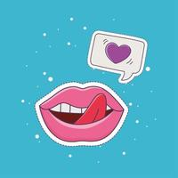 lips tongue out love patch fashion badge sticker decoration icon vector