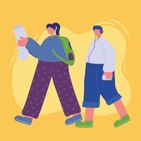 mujer con mochila y niño con teléfono caminando vector