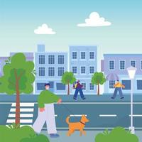 people walking on the street with cityscape, man with dog girl vector