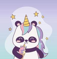 kawaii panda con unicornio helado personaje de dibujos animados fantasía mágica vector