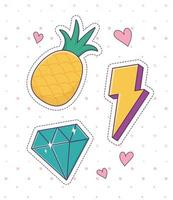 pineapple diamond thunderbolt patch fashion badge sticker decoration icon vector