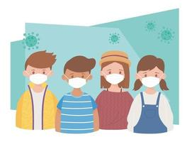 group young people with protective masks characters, coronavirus pandemic covid 19 vector
