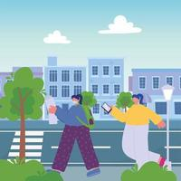 Mujer con mapa y niña con smartphone caminando en el paisaje urbano vector