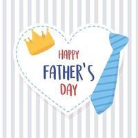 feliz día del padre, corbata corona corazón sobre fondo rayado vector