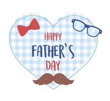 happy fathers day, moustache glasses bow tie background heart vector