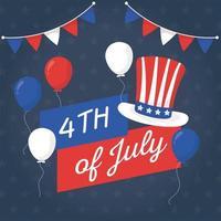 globos del día de la independencia y diseño vectorial de sombrero