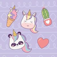kawaii unicorn panda and ice cream cartoon magical fantasy vector