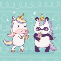 unicornio kawaii y panda con helado personaje de dibujos animados fantasía mágica vector