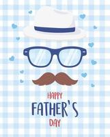 happy fathers day, moustache glasses hat hearts blue background vector