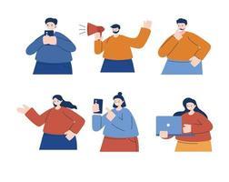 Hombres y mujeres con diseño de vector de teléfono inteligente portátil y megáfono