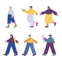 people walking, characters with smartphone backpack and listening music vector