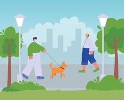 man walking with dog and boy listening music with headphones in city park vector