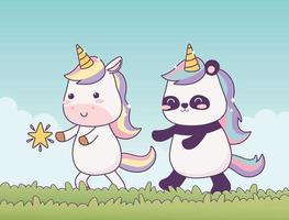 kawaii unicorn and panda in grass with star cartoon character magical fantasy vector