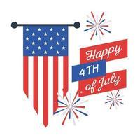 Fuegos artificiales del día de la independencia con diseño de vector de bandera de banner