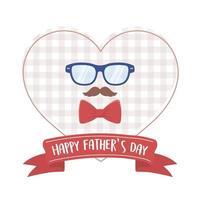 happy fathers day, moustache glasses bow tie heart design vector