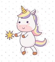 kawaii unicorn with star cartoon character magical fantasy vector