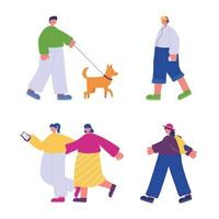 people walking, characters with smartphone backpack and dog vector
