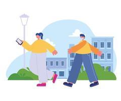 Chica con smartphone y chico con máscara médica caminando en la calle vector