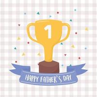 happy fathers day, gold trophy award winner confetti celebration checkered background vector