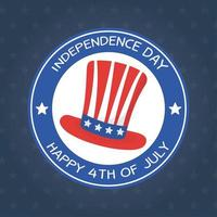Independence day hat seal stamp vector design
