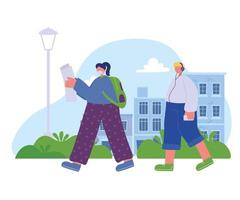 girl reading and boy listening music walking in the street vector
