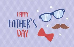 happy fathers day, moustache glasses bow tie stars decoration vector