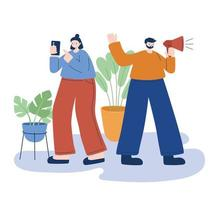 Woman and man with smartphone and megaphone vector design