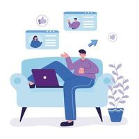young man character with laptop chatting sitting on sofa vector