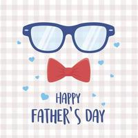 happy fathers day, glasses and bow tie hearts love checkered background vector