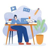 Woman with laptop and books on desk vector design