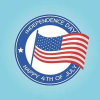 diseño del vector del sello del sello de la bandera del día de la independencia